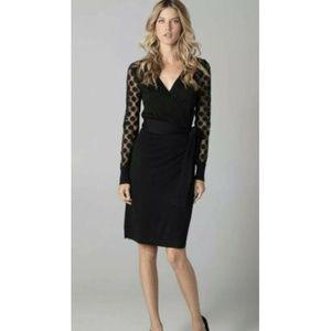 Diane Von Furstenberg Linda Black Knit Wrap Dress